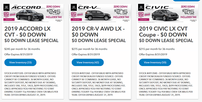 2019 Honda 0 Down Lease Special In Virginia Ad Including Va Sales Tax And Fees Share Deals Tips Leasehackr Forum
