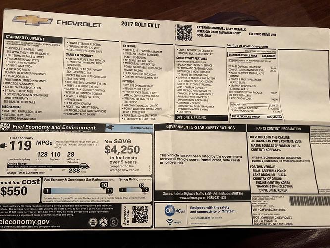 Bob Johnson Chevrolet >> 2017 Chevy Bolt Lt Lease Transfer Ny 12k Miles 13months