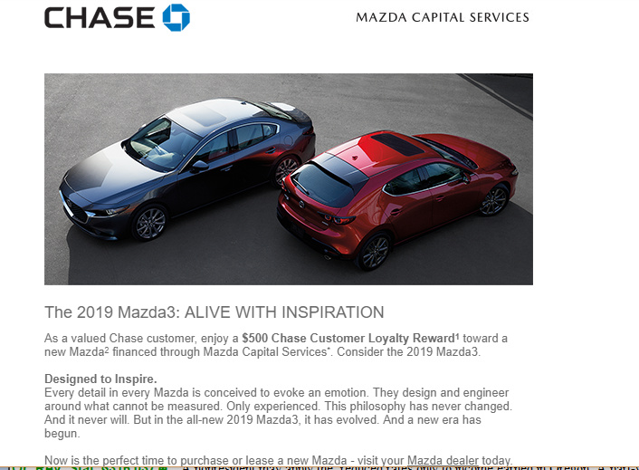 Mazda Capital Services >> Mazda Bonus For Chase Customers Share Deals Tips Leasehackr Forum