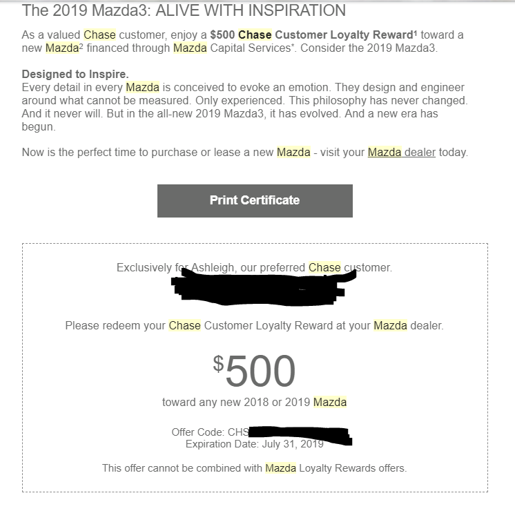 Mazda bonus for Chase customers - Share Deals & Tips