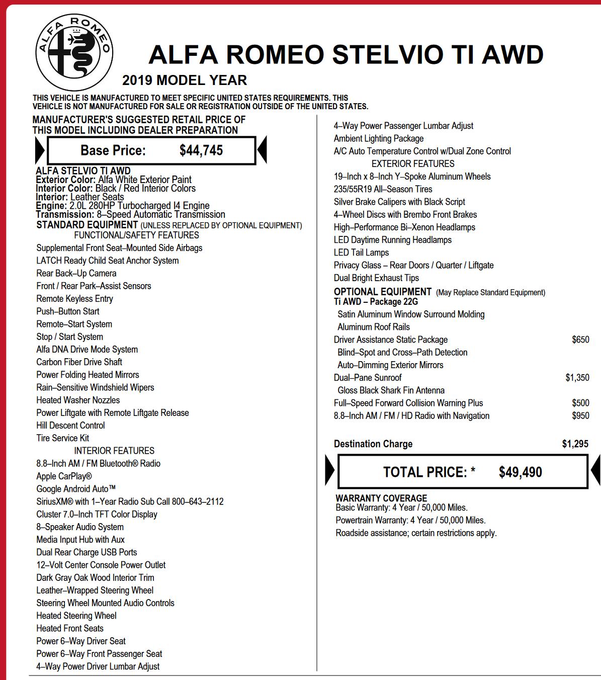 Signed: 2019 Alfa Romeo Stelvio Ti AWD