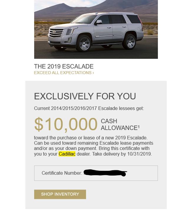 AutoLeaseNinjas October Cadillac Deals! $95K Escalade ESV
